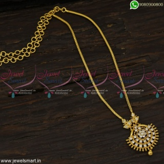 White Stone Attigai South Indian Chain With Pendant Gold Plated JewelleryNL23129