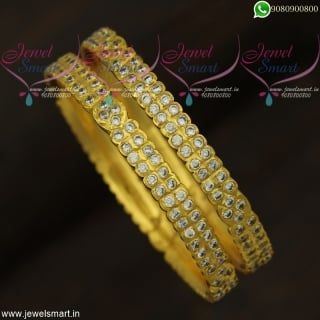 White Stone Gold Bangles Design Getti Valayal South Indian Fashion Online