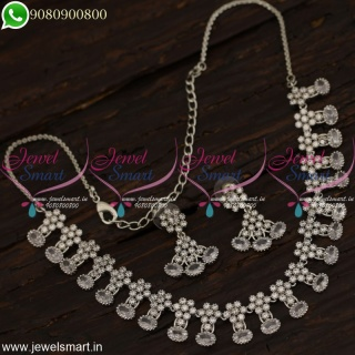 White Stones Necklace Set Silver Plated Jewellery New Fashion CZ Collections