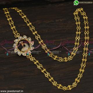 White AD Double Strand Chain Rettai Vadam Mugappu South Indian Jewellery Online