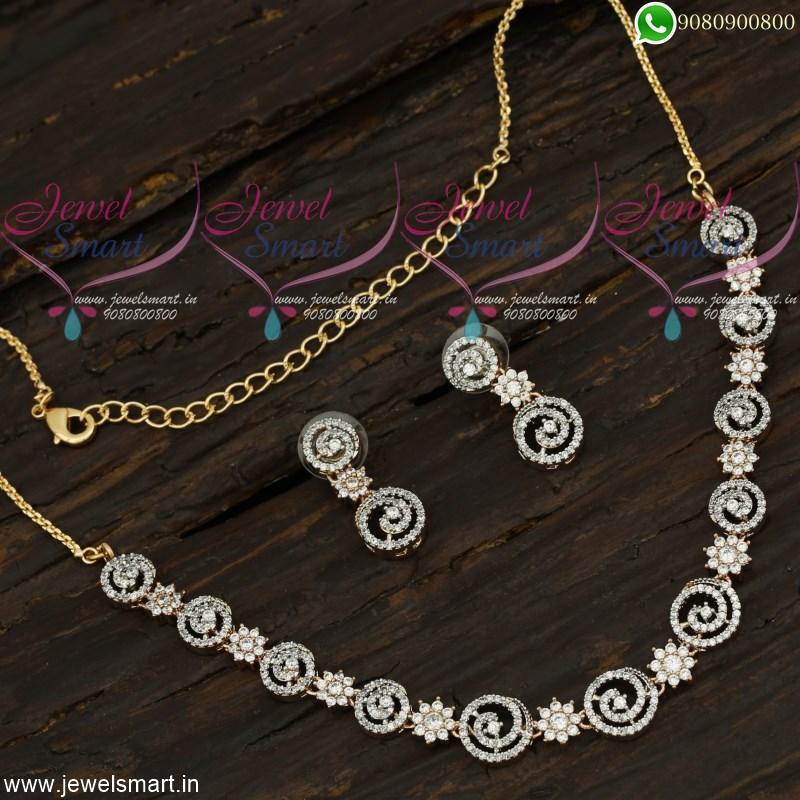 Rose Gold Necklace Set Designer Jewellery Online Cubic Zirconia Stones Studded Nl21787
